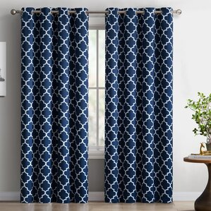 lattice geometric blackout thermal grommet curtain panels set of 2