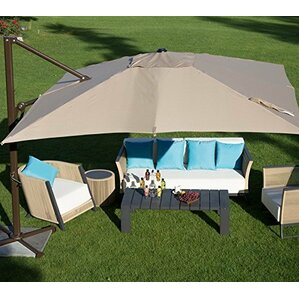 Abba Patio 10 Ft Square Easy Open Offset Outdoor Umbrella Square Parasol  With Cross Base,