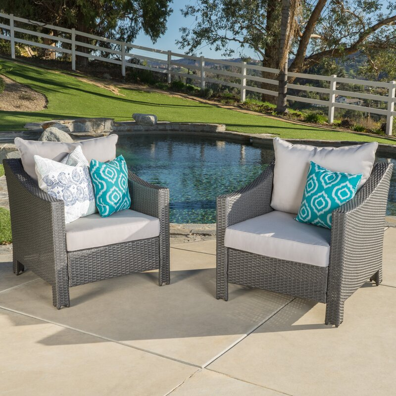 default name. Home Loft Concepts Dragoon Wicker Club Chair with Cushion