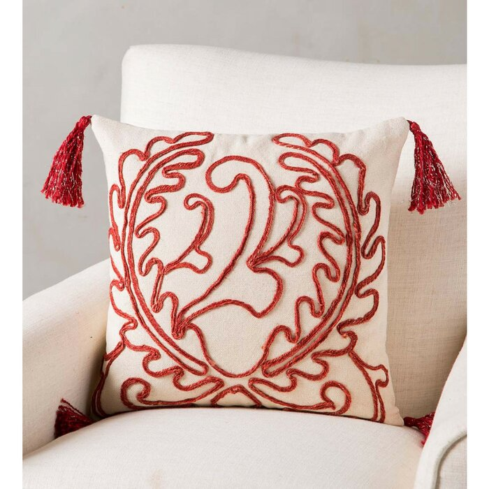 Groovy Frausto Handmade Red Jute Pillow Cover Caraccident5 Cool Chair Designs And Ideas Caraccident5Info