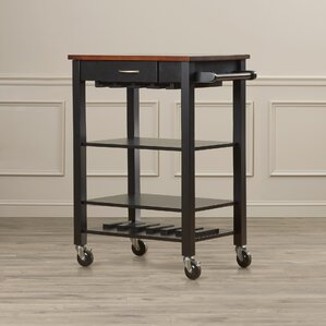 Morgandale Kitchen Cart with Butcher Block Top b..