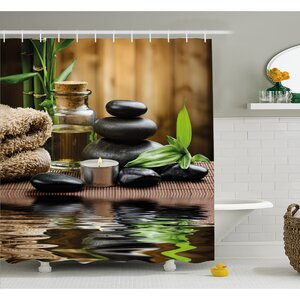Spa Asian Zen Massage Stone Triplets with Herbal Oil and Scent Candles Shower Curtain Set