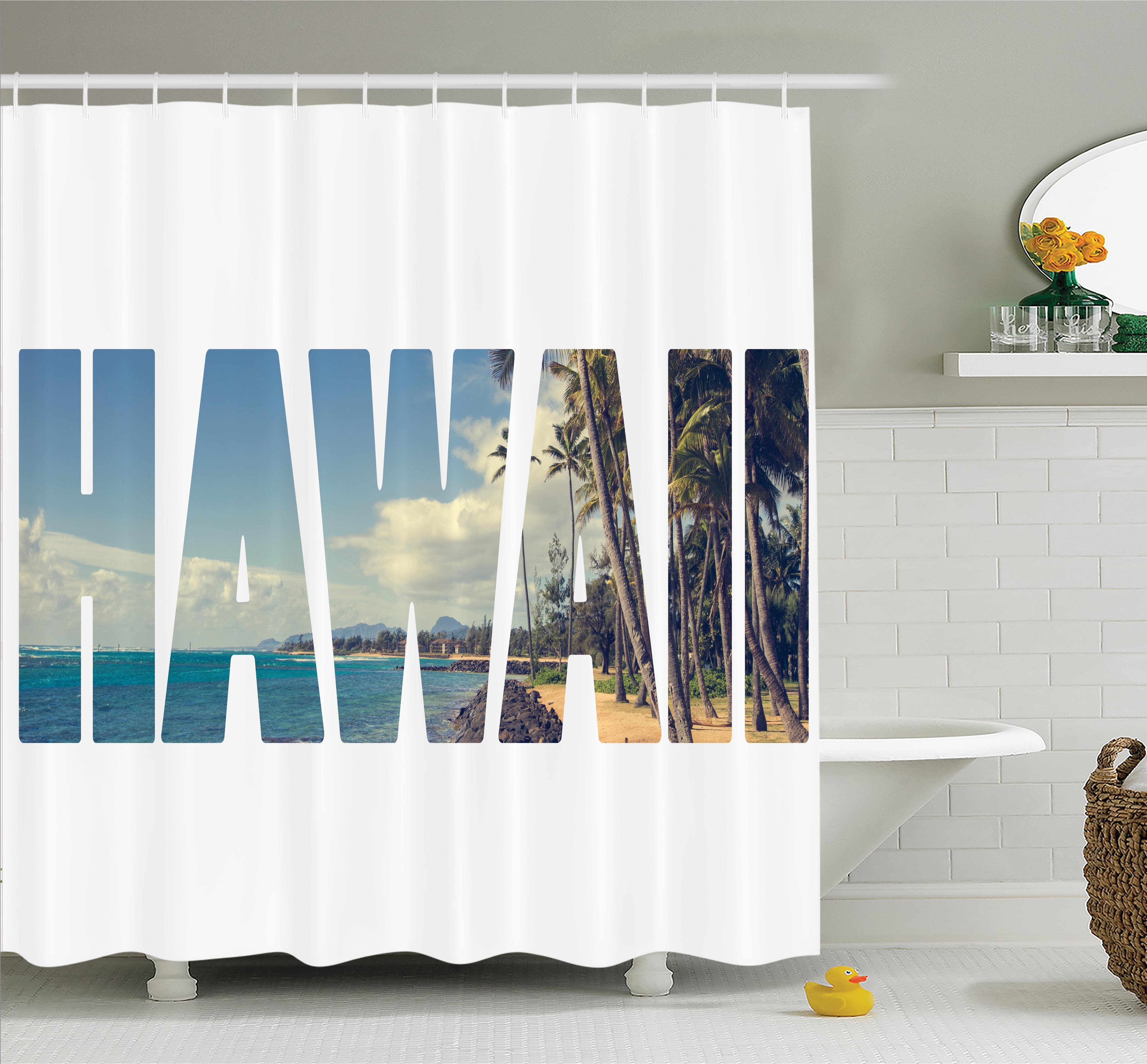Ambesonne Tropical Hawaii Themed Artsy Shower Curtain Set