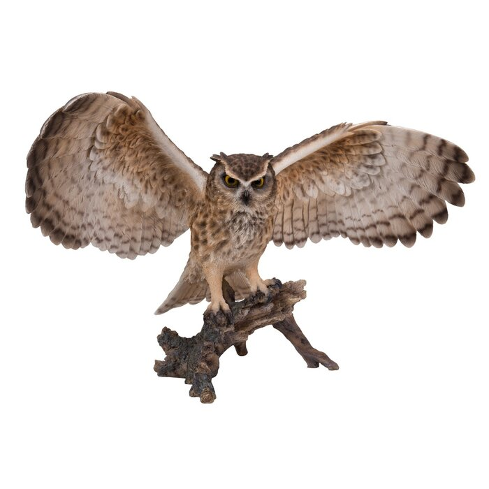 Hi Line Gift Ltd Eagle Owl On Branch With Open Wings Statue