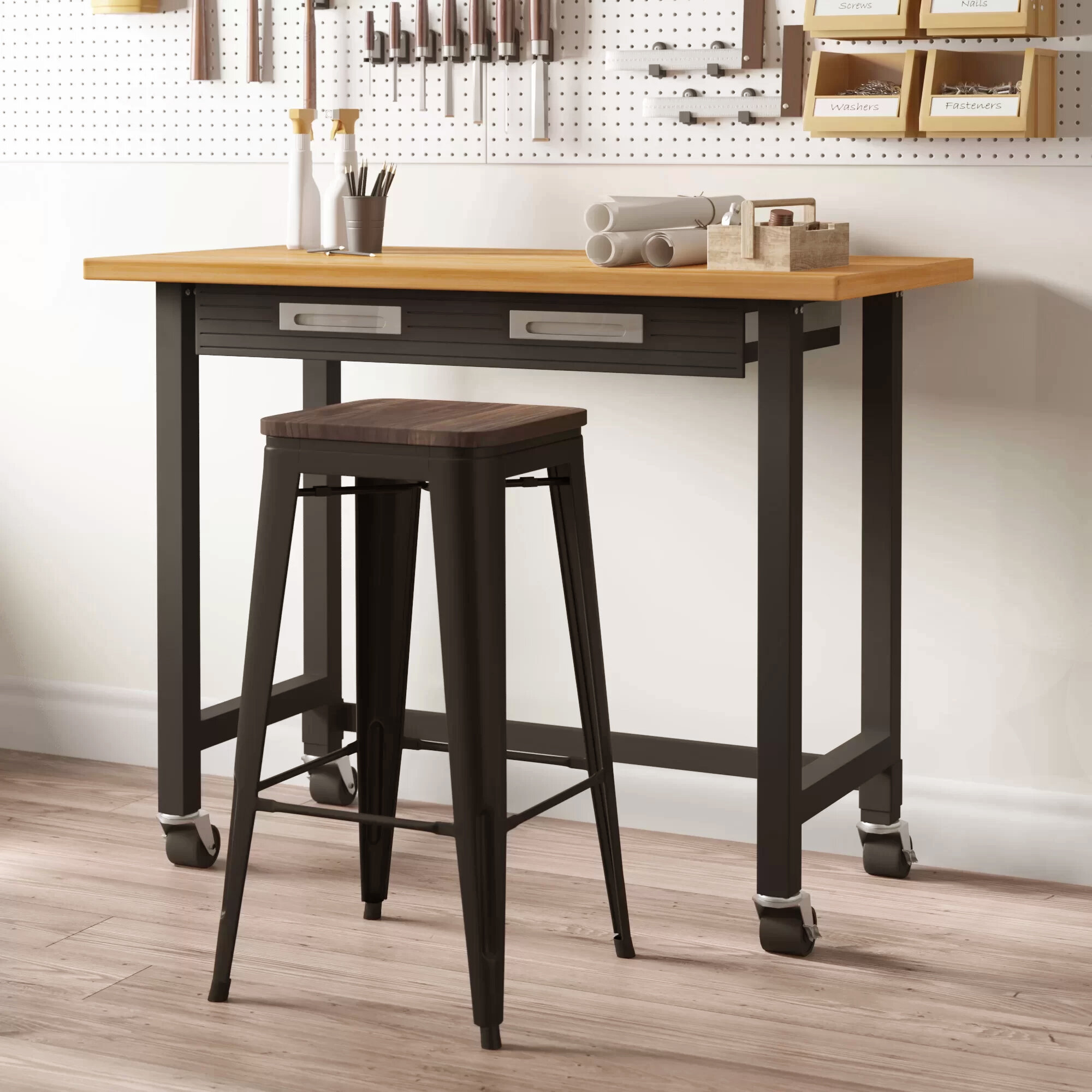 Remarkable D Wooden Top Workbench With Shelf Edsal 34 In W X 24 In H X Machost Co Dining Chair Design Ideas Machostcouk