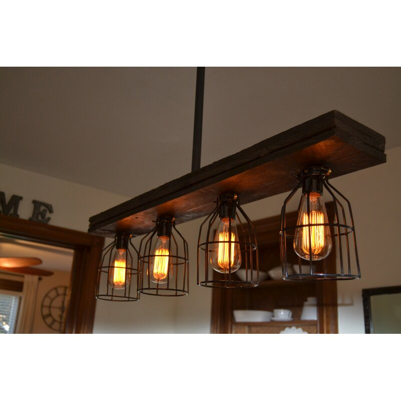 Triple Wood 4 Light Kitchen Island Pendant