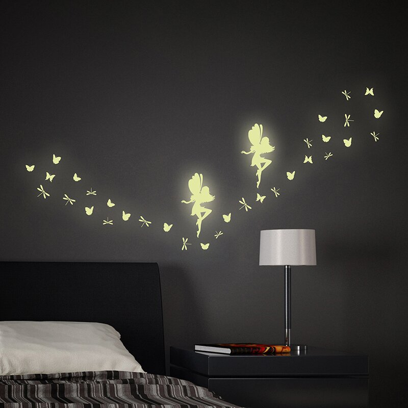 Fairy Glow In The Dark 34 Piece Wall Decal Set