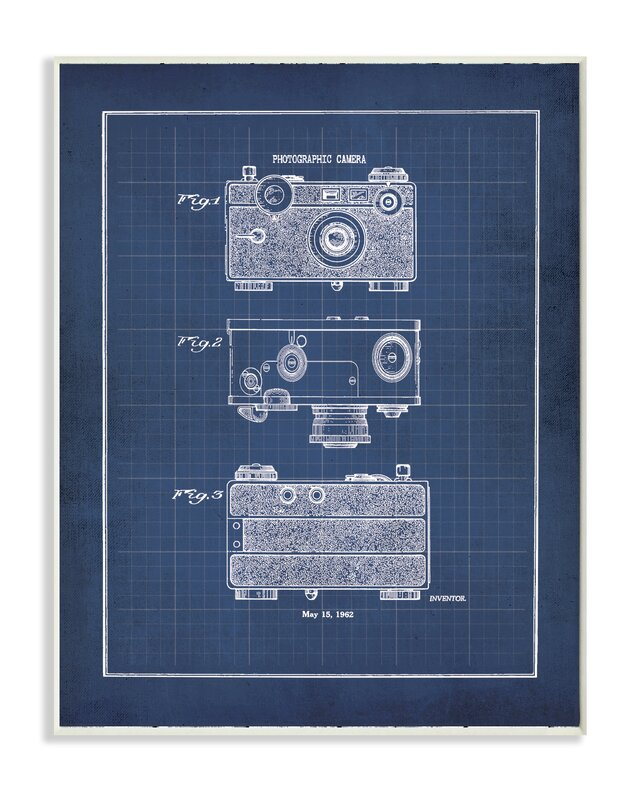 Stupell industries vintage camera blueprint graphic art print vintage camera blueprint graphic art print malvernweather Images