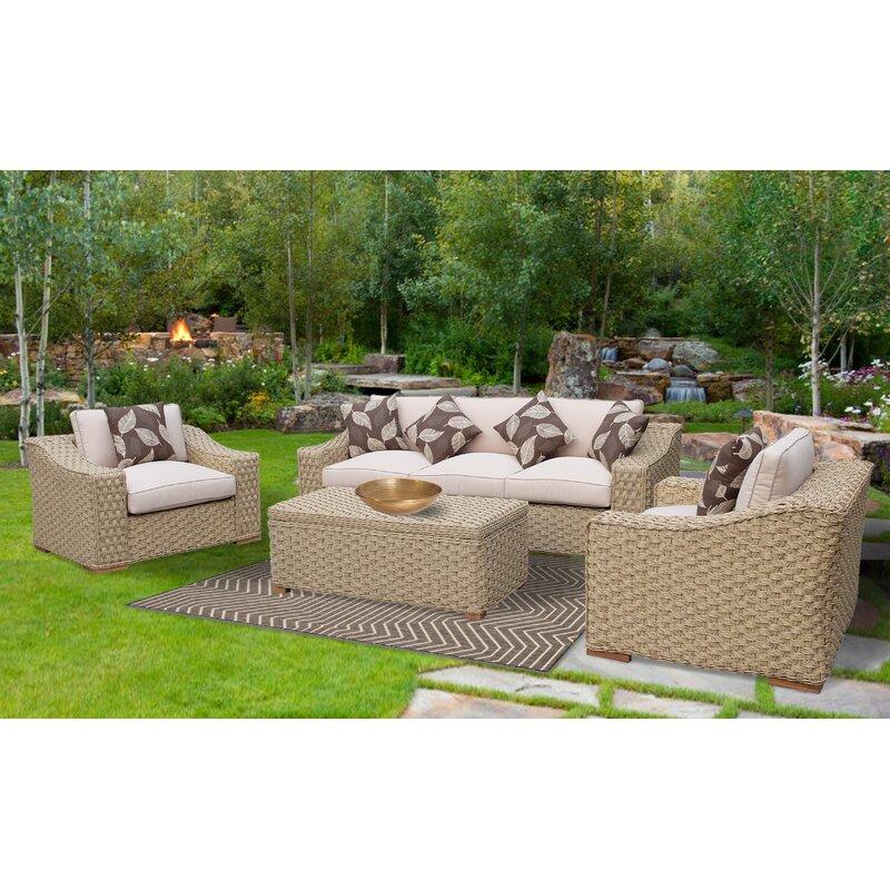 ef5ed42669d8 Brayden Studio Dutil 4 Piece Rattan Sofa Seating Group with Cushions &  Reviews | Wayfair