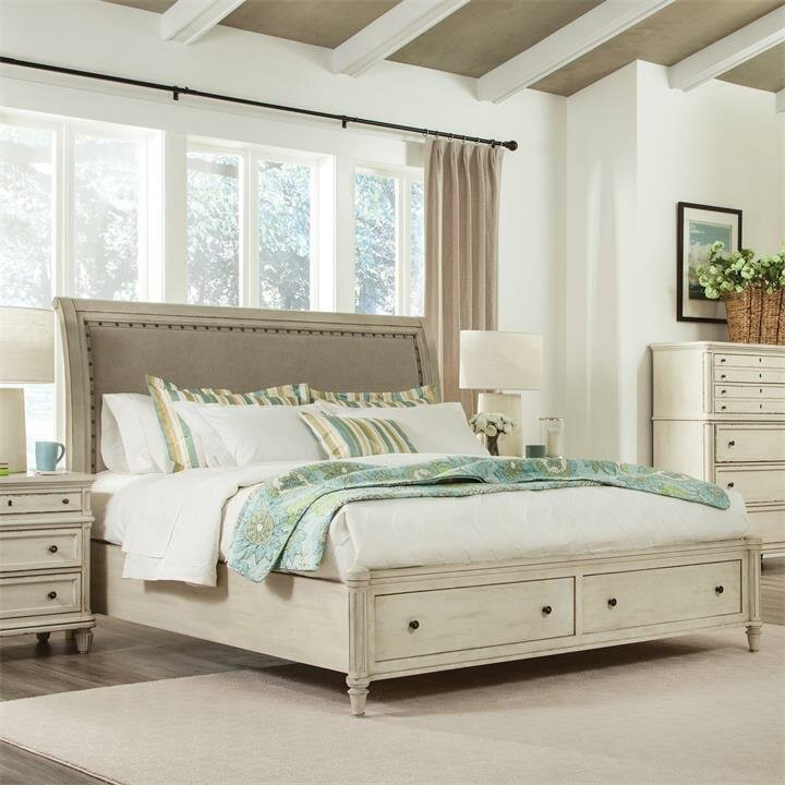 beachy bedroom furniture beachcrest home waverley upholstered sleigh headboard 10207
