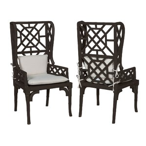 Lonara Bamboo Wingback Arm Chair (Set of 2) by World Menagerie