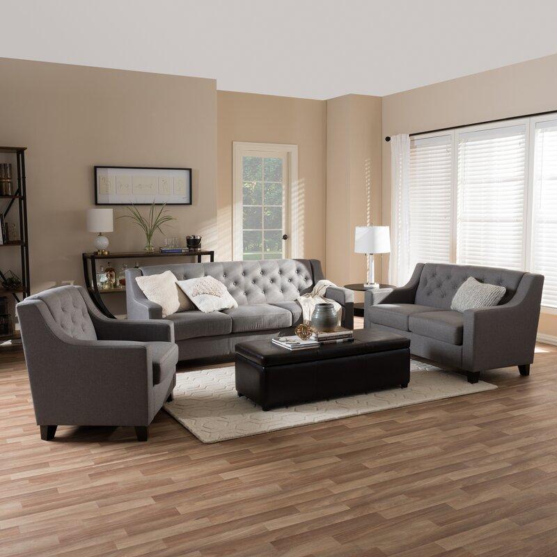Baxton 3 Piece Living Room Set