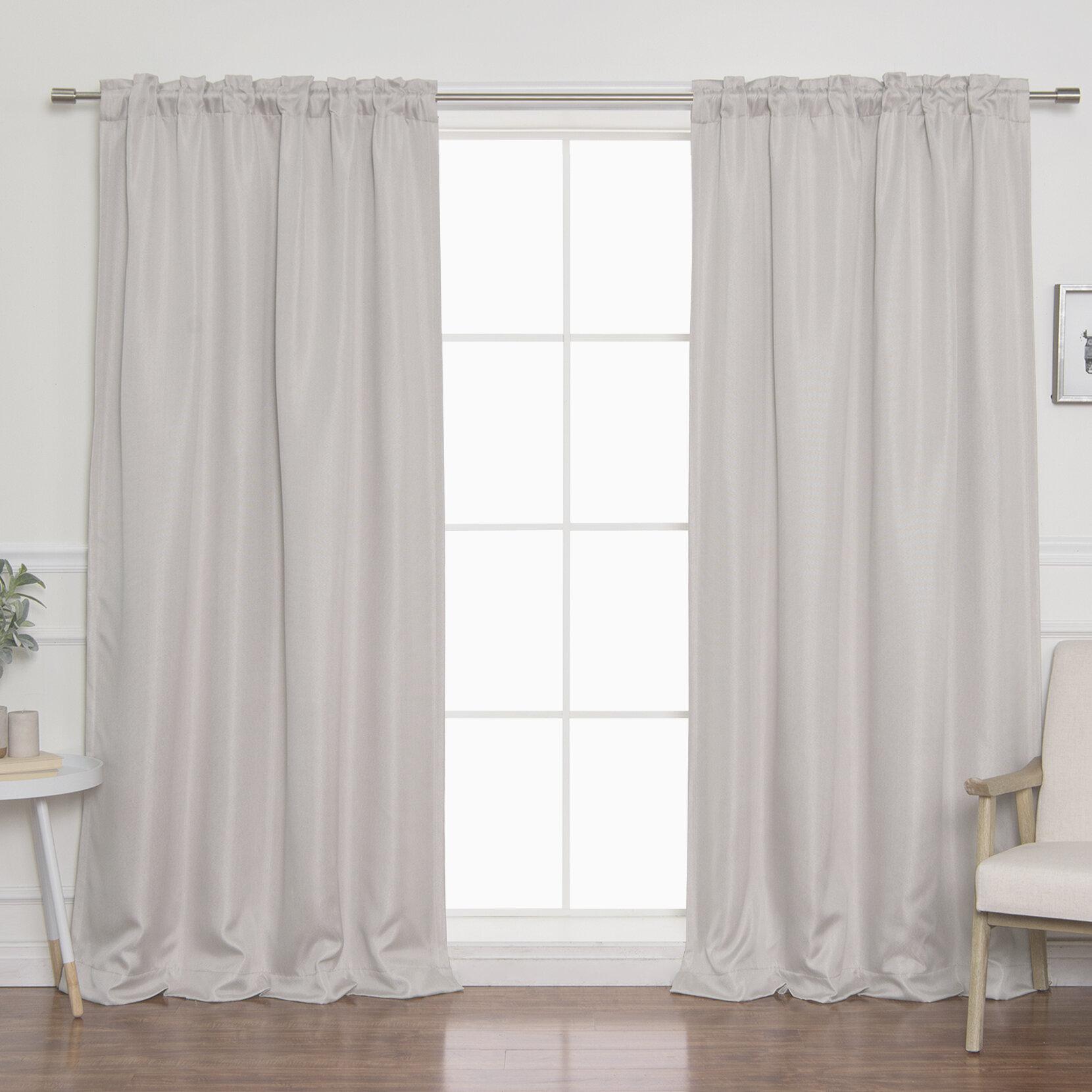 Vicenta Basketweave Faux Linen Solid Blackout Back Tab Top Curtain Panels Reviews Joss Main