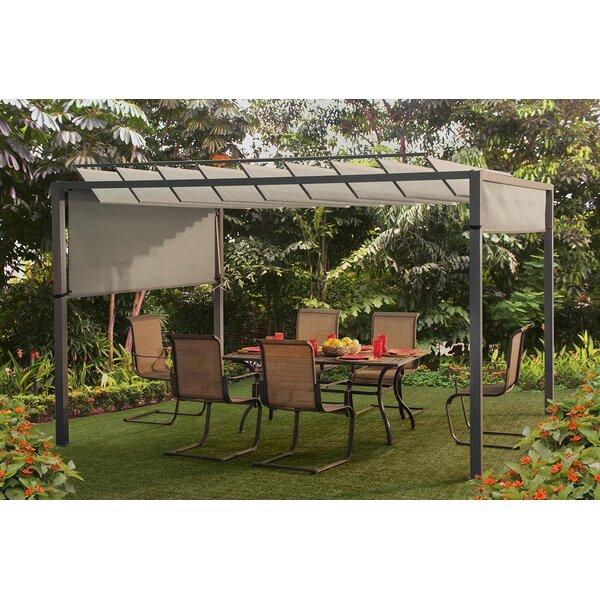 sunjoy louvered 121 ft w x 97 ft d metal pergola u0026 reviews wayfair