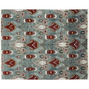 One-of-a-Kind Ikat Hand-Knotted Gray Area Rug