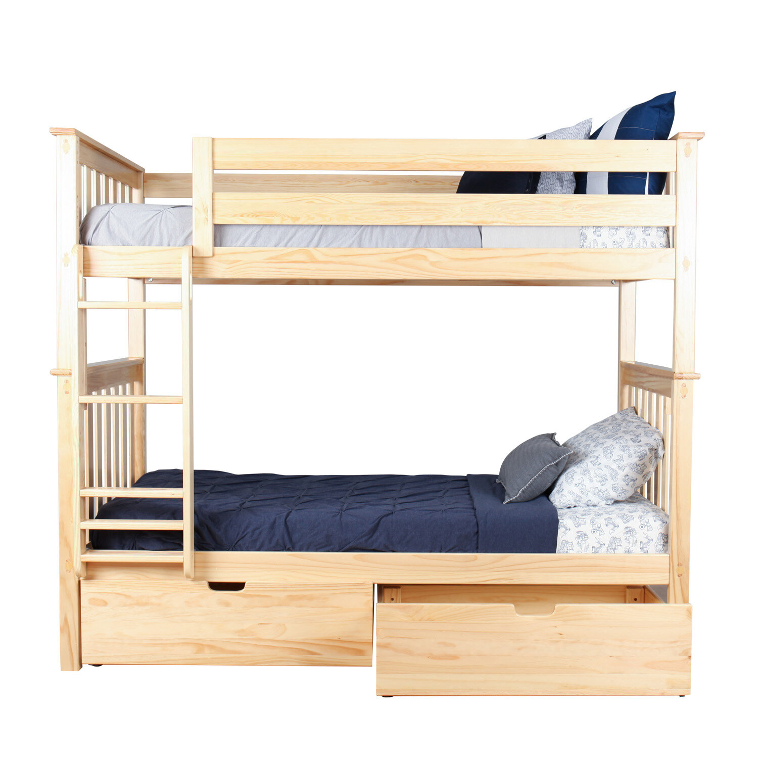 Max & Lily Twin Over Twin Bunk Bed With Under