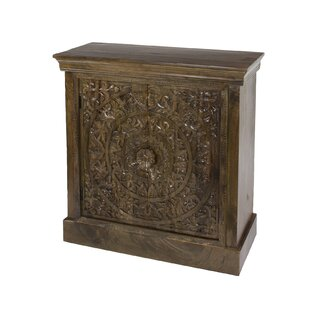 Chaska Small Hand Carved Square Wood 2 Door Accent Cabinet