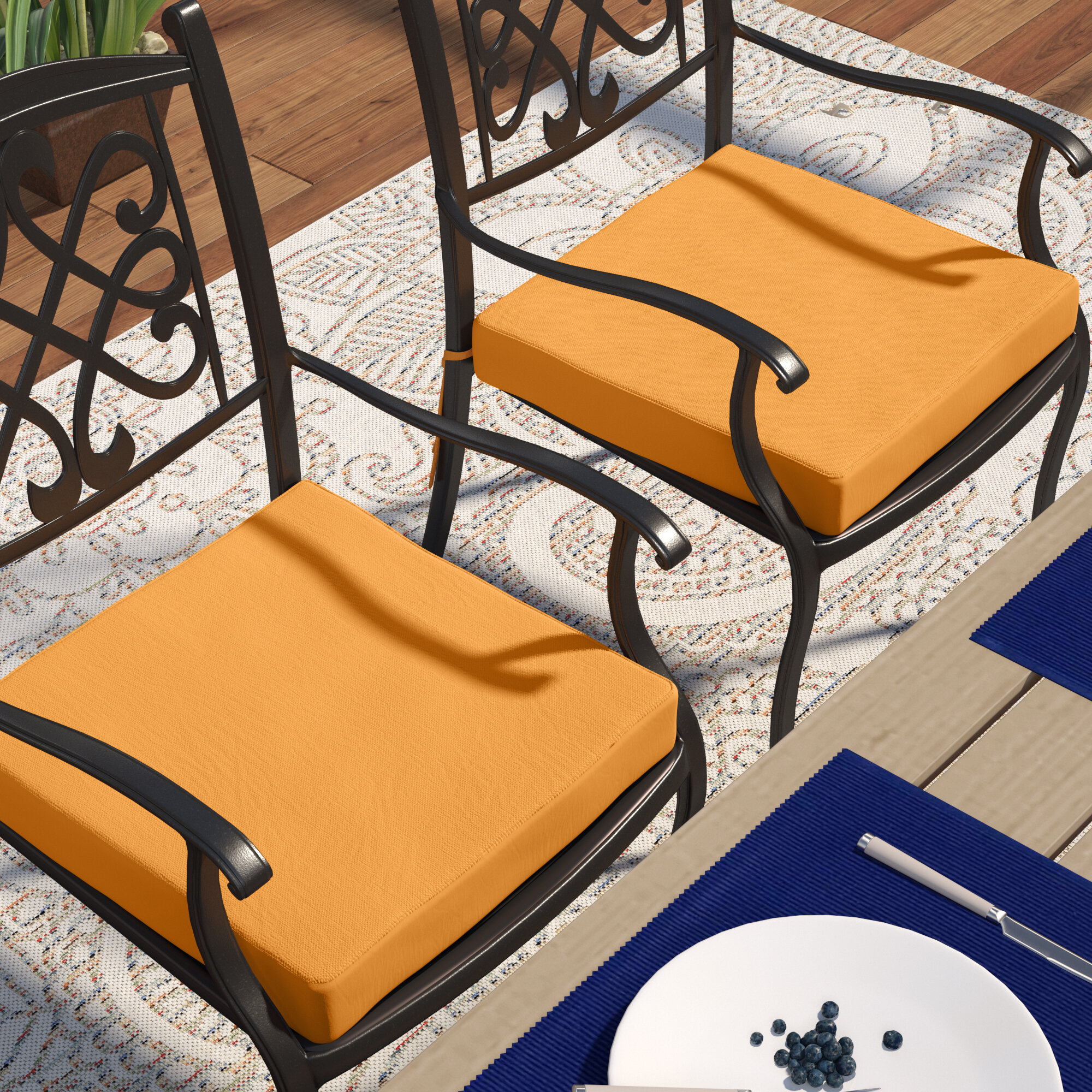 Knife Edge Indoor Outdoor Sunbrella Dining Chair Cushion