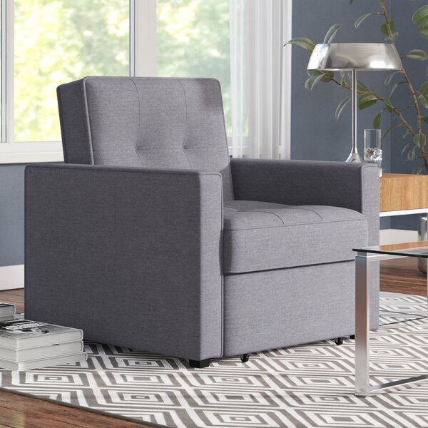 Ivy Bronx Chandler Grey Convertible Arm Chair Bed