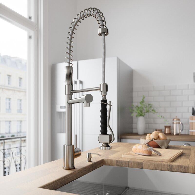 Vigo Zurich Pull Down Single Handle Kitchen Faucet With Soap