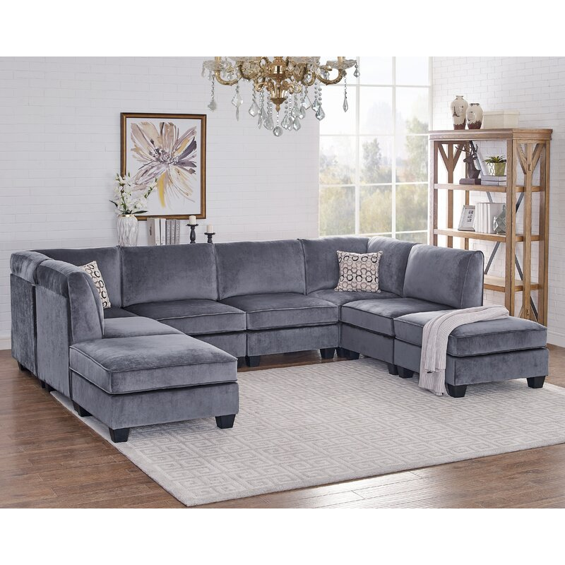 Ivy Bronx Eula Modular Velvet Sofa Set Amp Reviews Wayfair