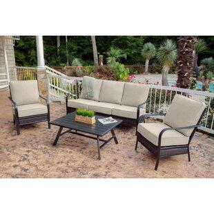 Oakmont 4-Piece Commercial-Grade Patio Set with 2 Aluminum/Woven Club Chairs Sofa and Slat-Top Coffee Table  sc 1 st  Wayfair & Bristol Patio Set | Wayfair