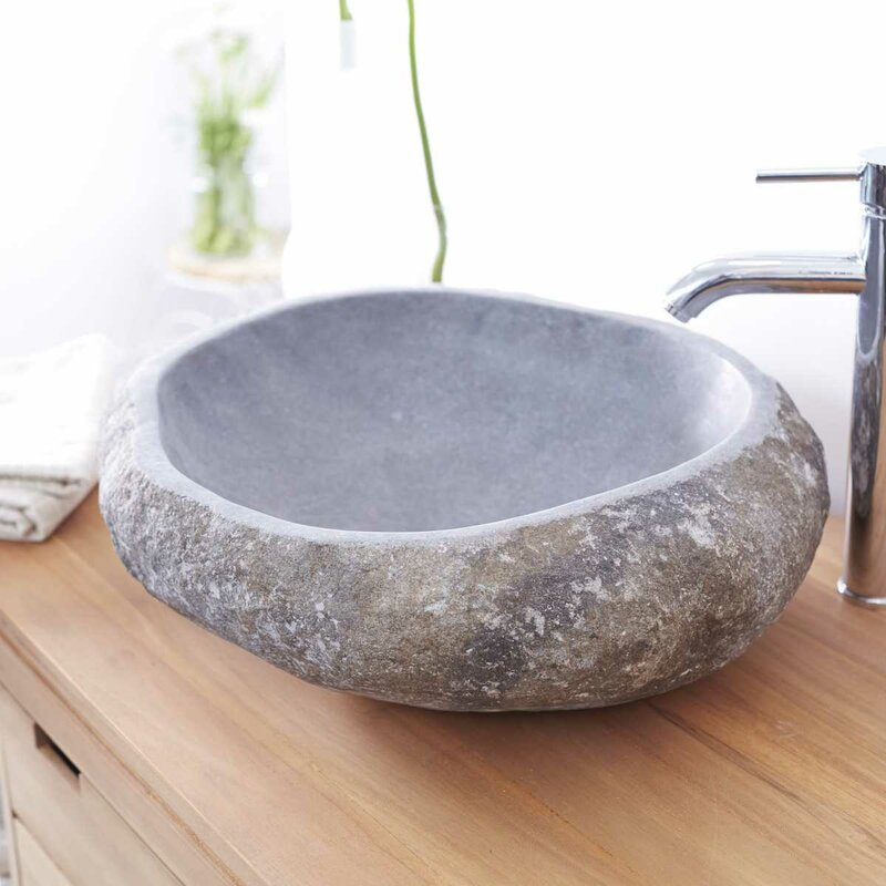 Tikamoon Galet River Stone 430mm Countertop Basin
