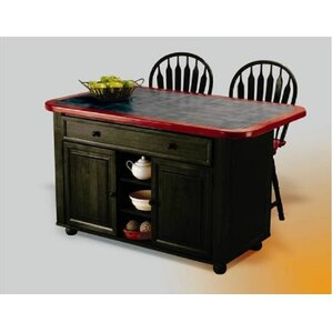 Lockwood Kitchen Island With Ceramic Tile Top And Stools