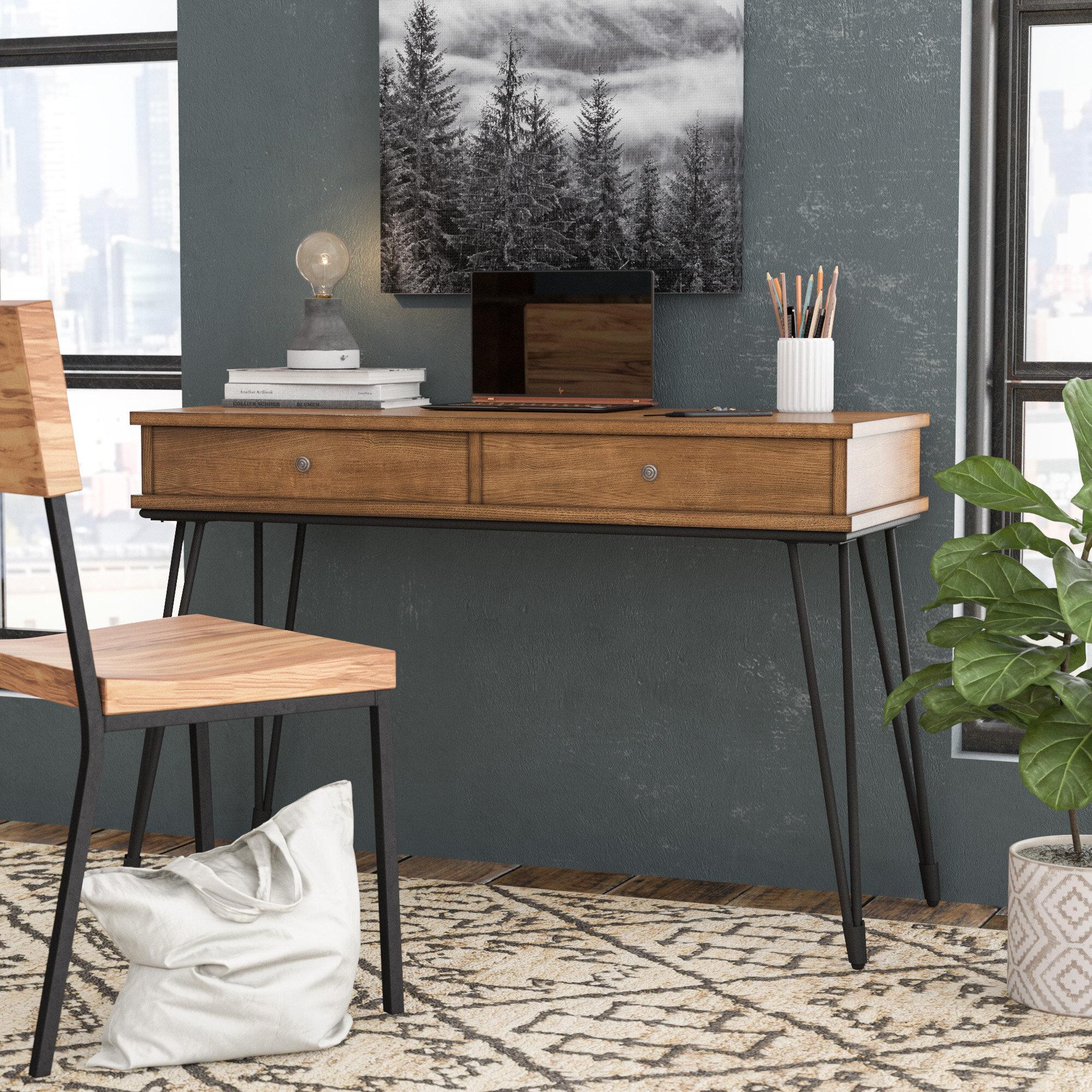 Williston Forge Nikolai Metal And Distressed Wood Writing Desk &