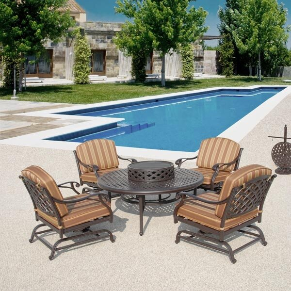 Art Frame Direct Laneon Fire Pit Set Sunbrella Seating Group with Cushions