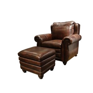 Dillen Leather Chair and Ottoman by Darby Ho..