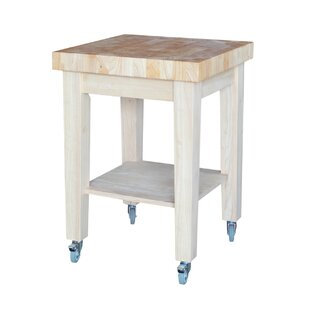 Cuthbert Kitchen Cart with Butcher Block with Storage