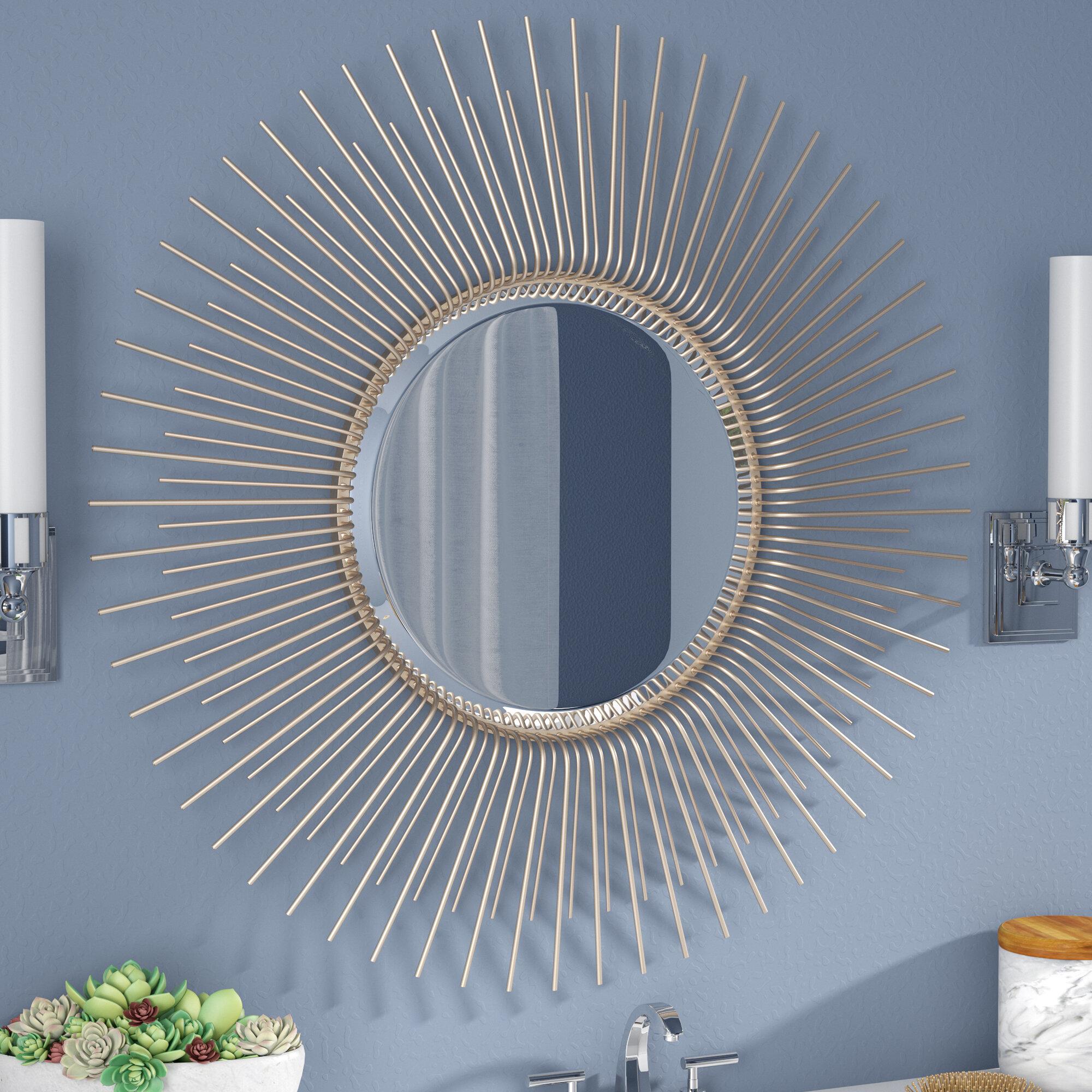 Brayden Studio Oversized Sunburst Wood Frame Accent Mirror & Reviews ...