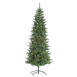 hb 9 green pine artificial christmas tree with 700 clear lights with stand - 9 Slim Christmas Tree