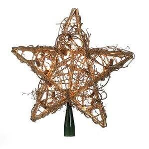Rattan Star Treetop 20 Light Tree Topper