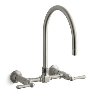 Kohler Hirisetwo-Hole Wall-Mount Bridge Kitchen Sink Faucet with 13-7/8