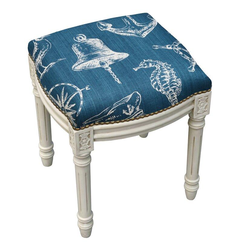 Nautical Linen Upholstered Vanity Stool With Nailhead Joss Main