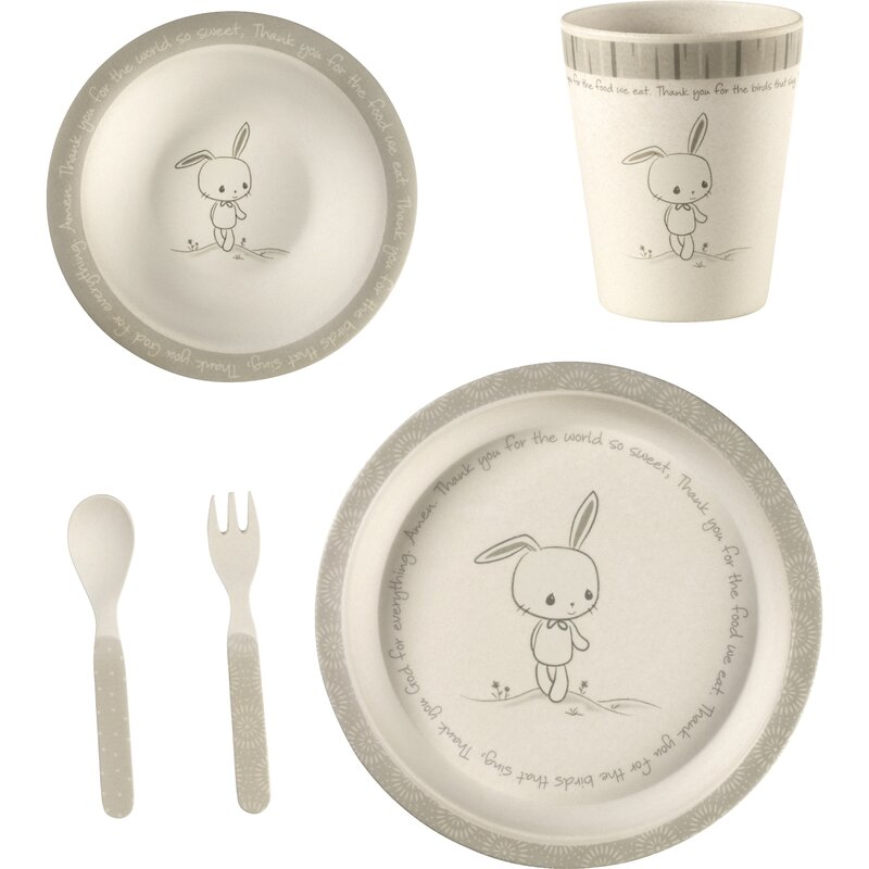 Precious Moments Mealtime Bunny 5 Piece Dinnerware Set Service For