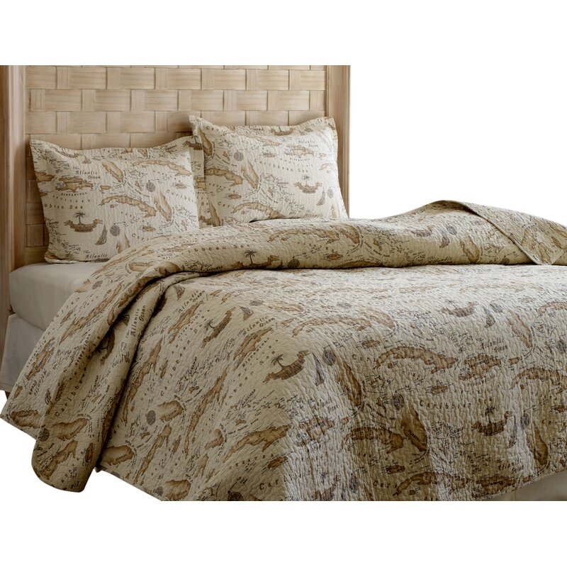 Tommy Bahama Home Map 3 Piece Reversible Quilt Set By