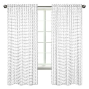 Mod Dinosaur Chevron Semi-Opaque Rod Pocket Curtain Panels (Set of 2)