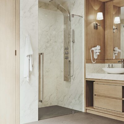 Vigo Cameo Adjustable 4013 X 7338 Frameless Pivot Shower Door