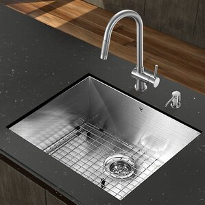 VIGO 23 inch Undermount Single Bowl 16 Gauge Stainless Steel Kitchen Sink with Gramercy Stainless Steel Faucet, Grid, Stra...