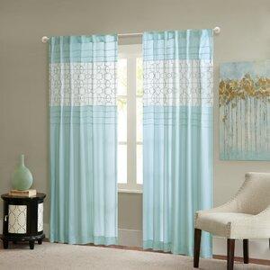 Southport Geometric Semi-Sheer Rod Pocket Single Curtain Panel