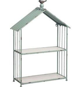 Wood/Metal Bird House Accent Shelf