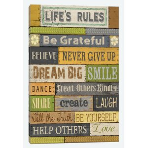 Life's Rules Textual Art on Wrapped Canvas