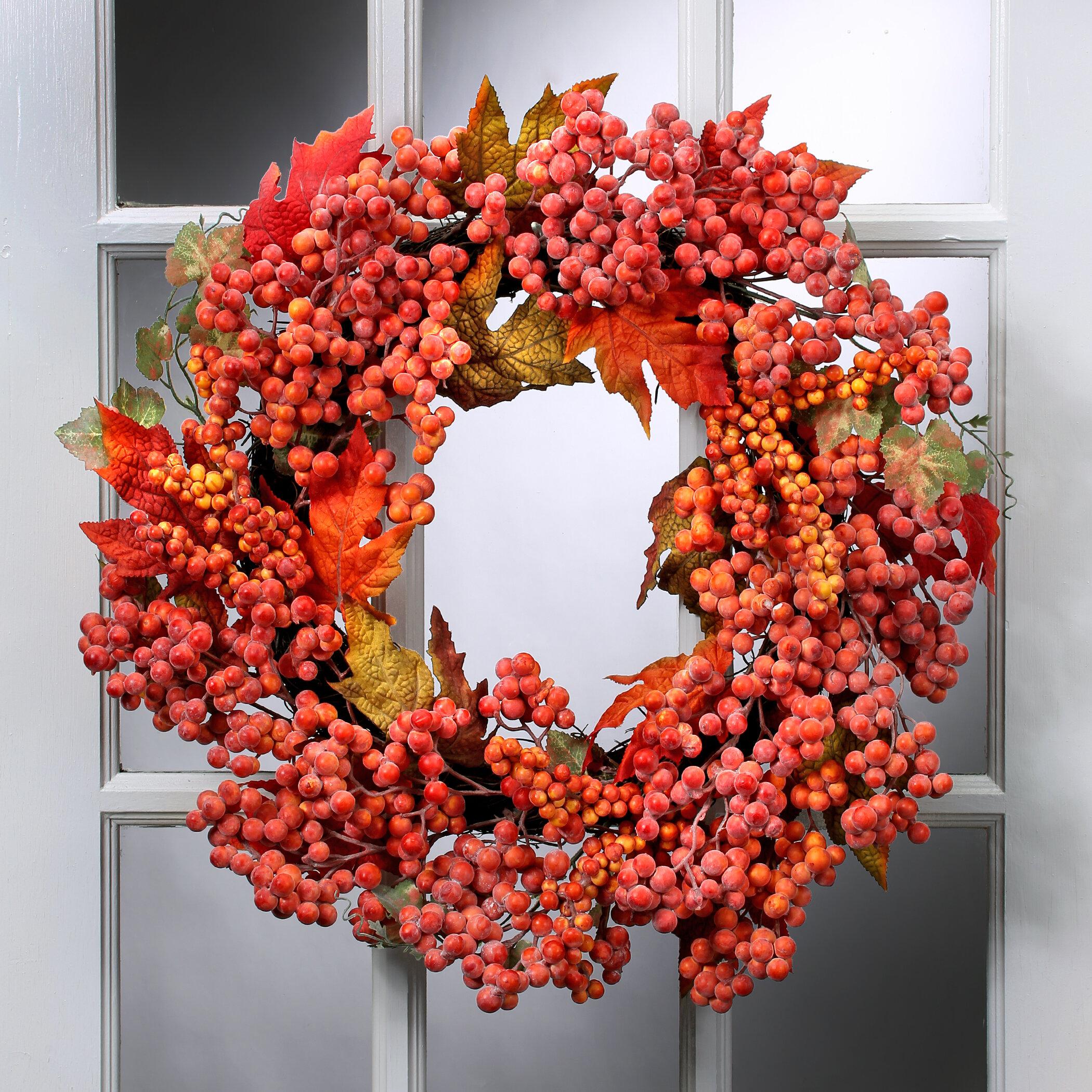 24 waterproof frosted berry oak leaf wreath birch lane