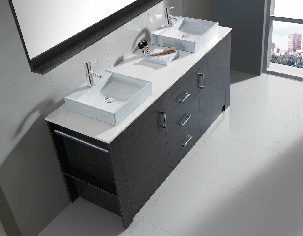 Glen Ridge 72 Double Bathroom Vanity Set With White Top And Mirror