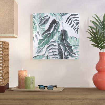 Fresh Green Tropical Palm Leaves Acrylic Painting Print On Canvas