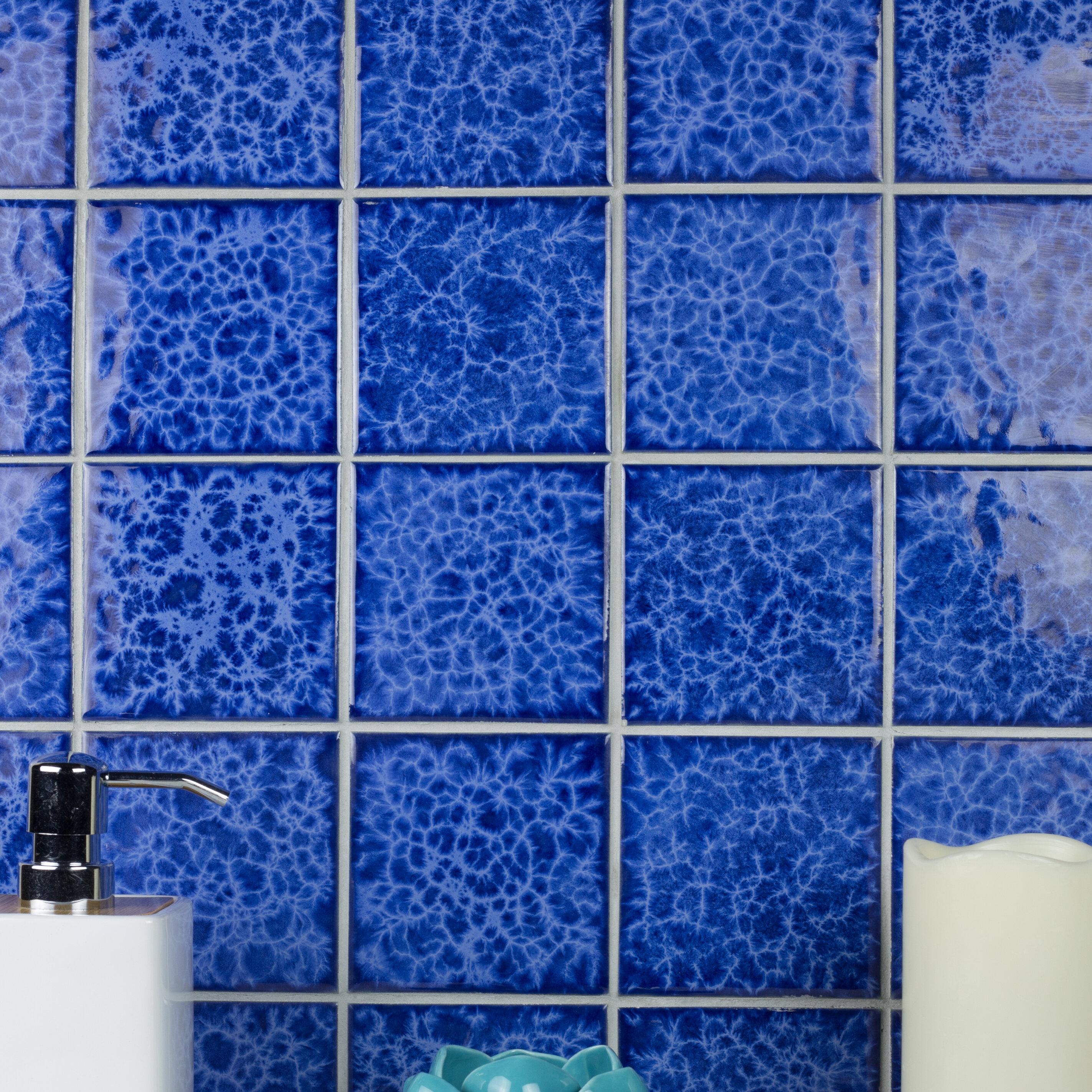 Monet Swimming Pool Series 3.7 x 3.7 Porcelain Square Mosaic Tile