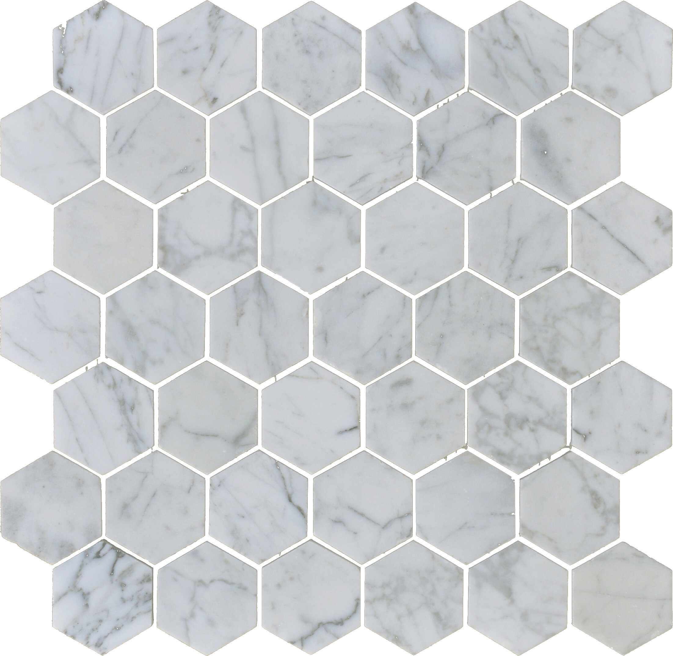 The Bella Collection Carrara X Hexagon Polished Marble Mosaic - 2 carrara marble hexagon floors
